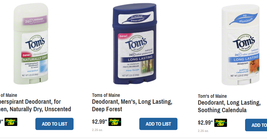 Tom's deodorant coupons 2018