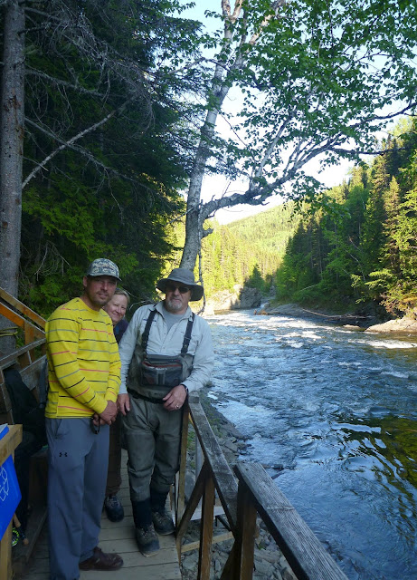 Chad, Jessie, and local guide, Fred Matt, la chute, York River, Gaspé
