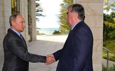 Vladimir Putin greeting President of Tajikistan Emomali Rahmon in Sochi