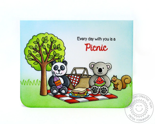 Sunny Studio: Every day with you is a Picnic card by Mendi Yoshikawa (using Summer Picnic & Sunny Sentiments stamps)