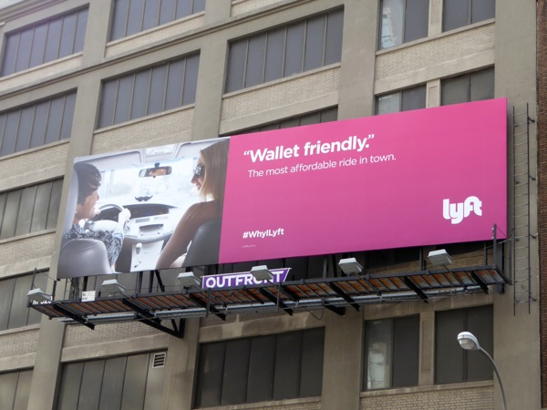 Lyft Wallet friendly billboard NYC