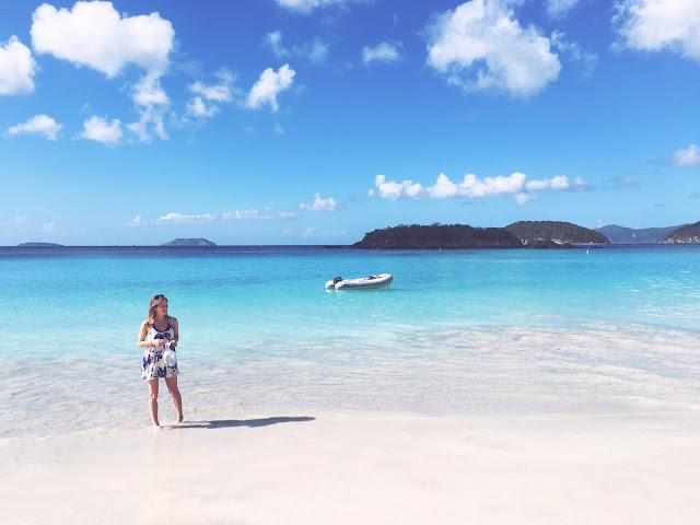 Show Me Your Mumu dress on Cinnamon Bay beach in St. John, Caribbean