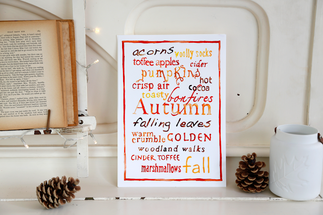 Autumn Words Watercolour A4 Print, Autumn Decor, Wall Art, Typography Poster