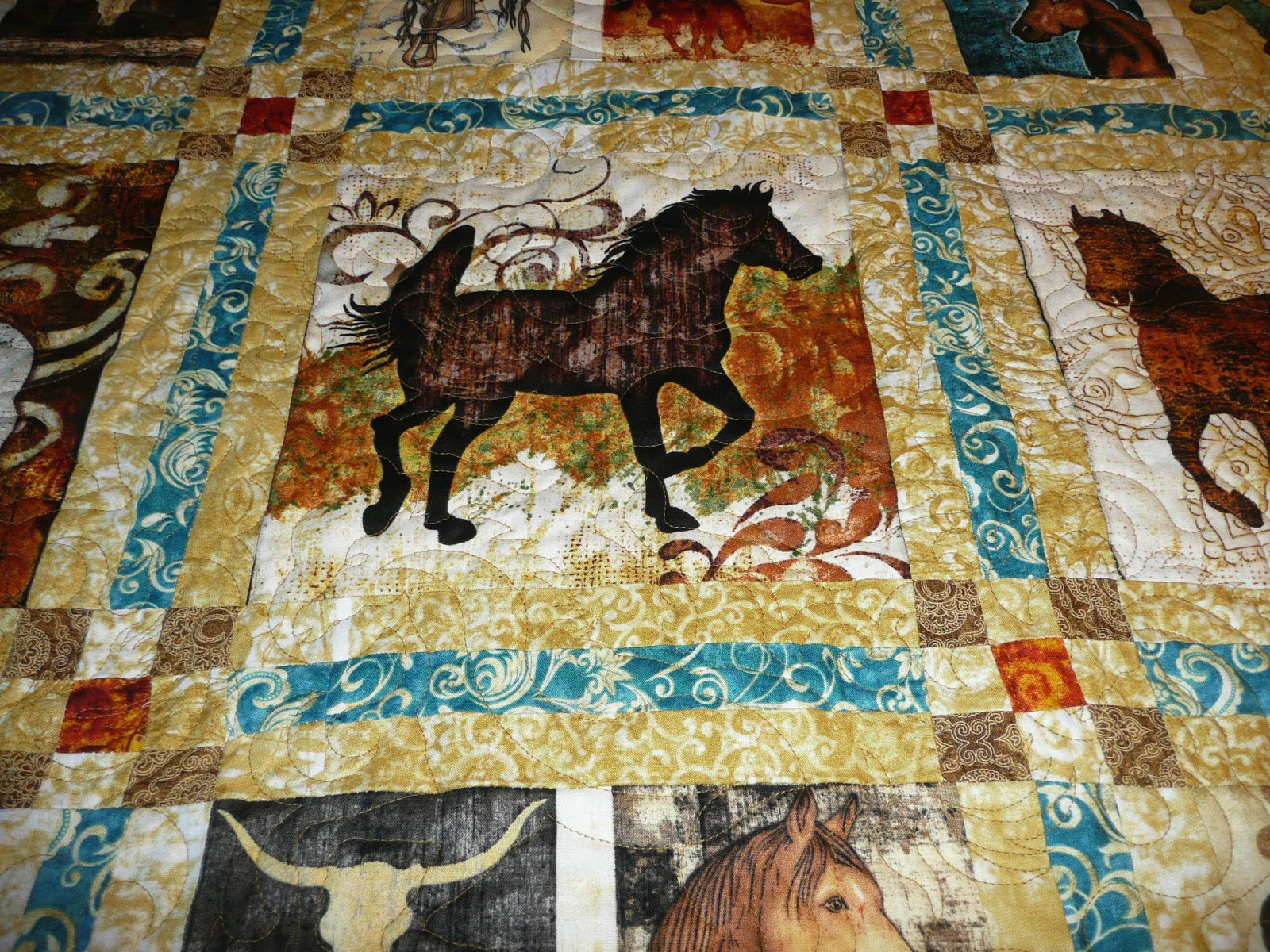 horse pattern quilt quilts il horses kids happy patterns cowboy pdf listing from high noon applique
