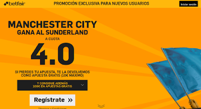betfair Manchester City gana Sunderland boxing day supercuota 4 Premier League 26 diciembre