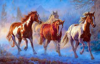caballos-finos-pintados-con-oleo