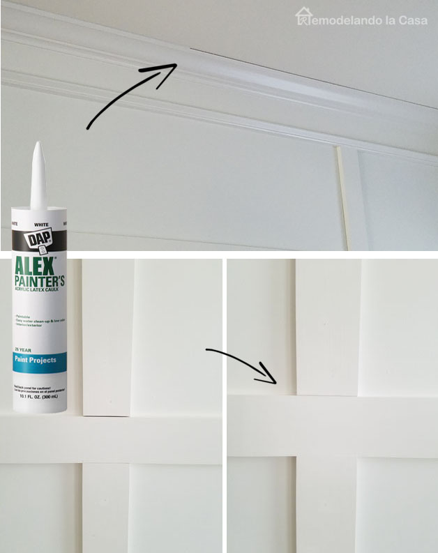 filling crown molding gap against the ceiling and in between boards