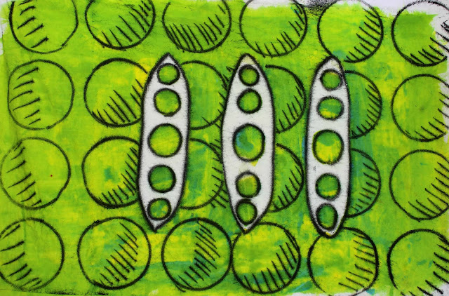 green monoprint with circles and beans motif