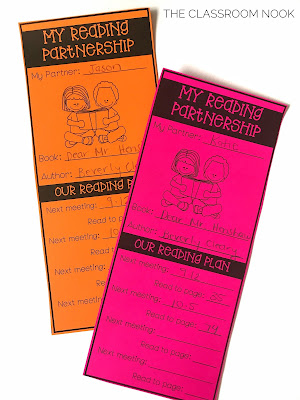 use bookmarks to help students keep track of their reading plan during reading partnerships
