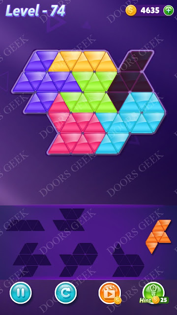 Block! Triangle Puzzle Intermediate Level 74 Solution, Cheats, Walkthrough for Android, iPhone, iPad and iPod