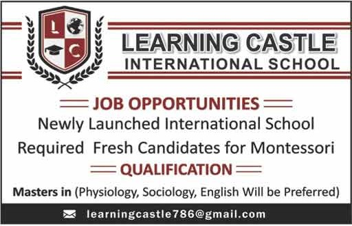 Today New Jobs In Learning Castle International School for Fresh Candidates Montessori