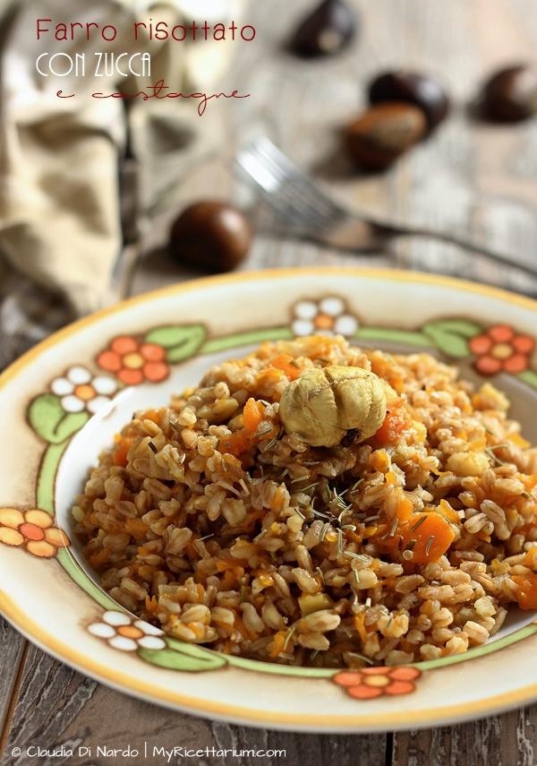 Farro risottato con zucca e castagne