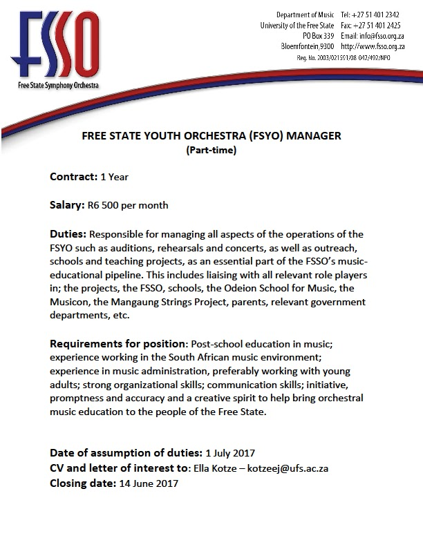 Vacancy - Free State Youth Orchestra Manager