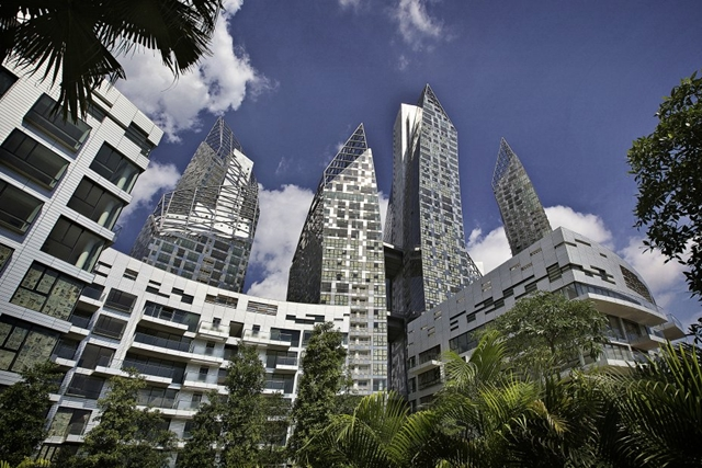 Looking up at Reflections at Keppel Bay by Studio Daniel Libeskind