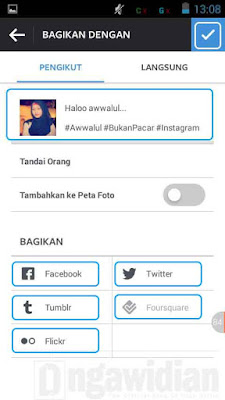 Cara Upload Foto Instagram Bagikan Ke Facebook, Twitter, Tumblr, Foursquer, Flickr