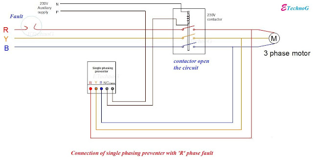 Single Phase Preventer connection, Connection diagram of Single Phasing Preventer