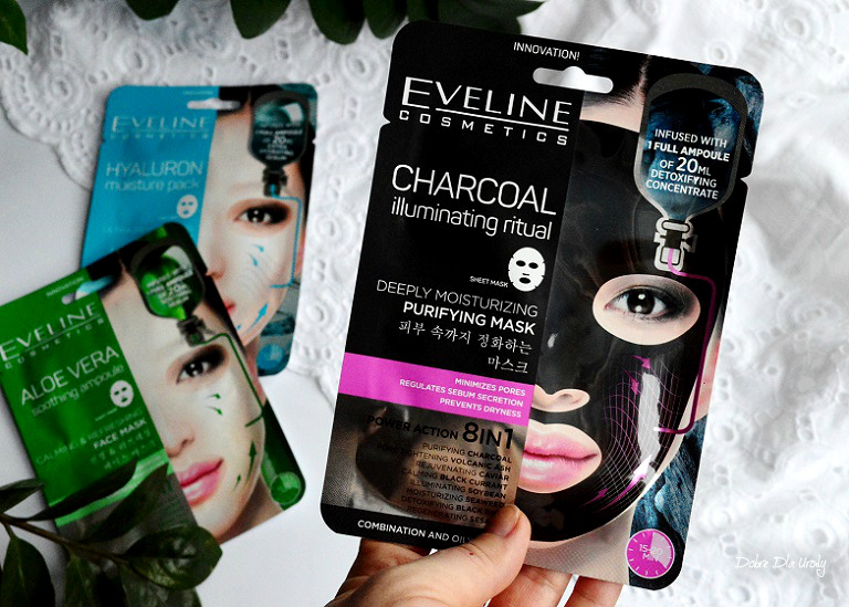 Eveline Charcoal Illuminating Ritual Sheet Mask Węglowy rytuał rozświetlający recenzja