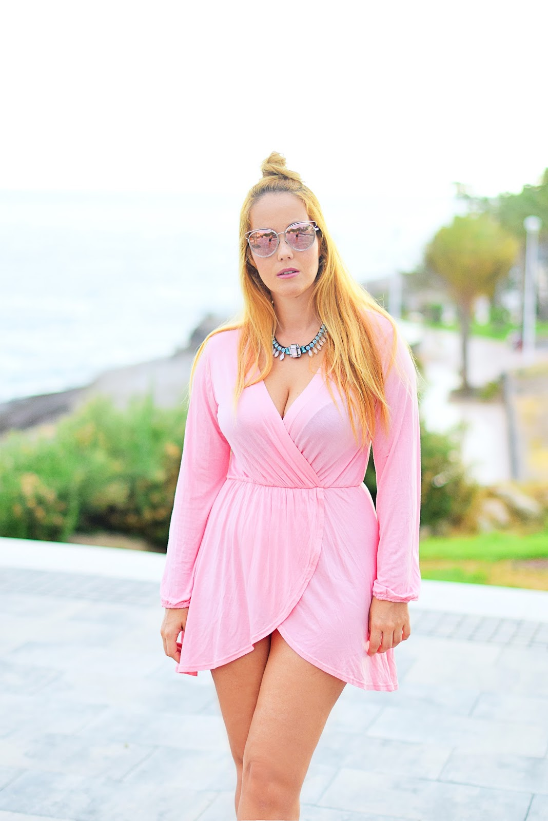 nery hdez, pink dress, dior sideral, optical h, sexy look, top knot, ottaviani