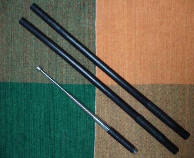 Armas do Kali - Bastões plásticos e Bastão tático de mola