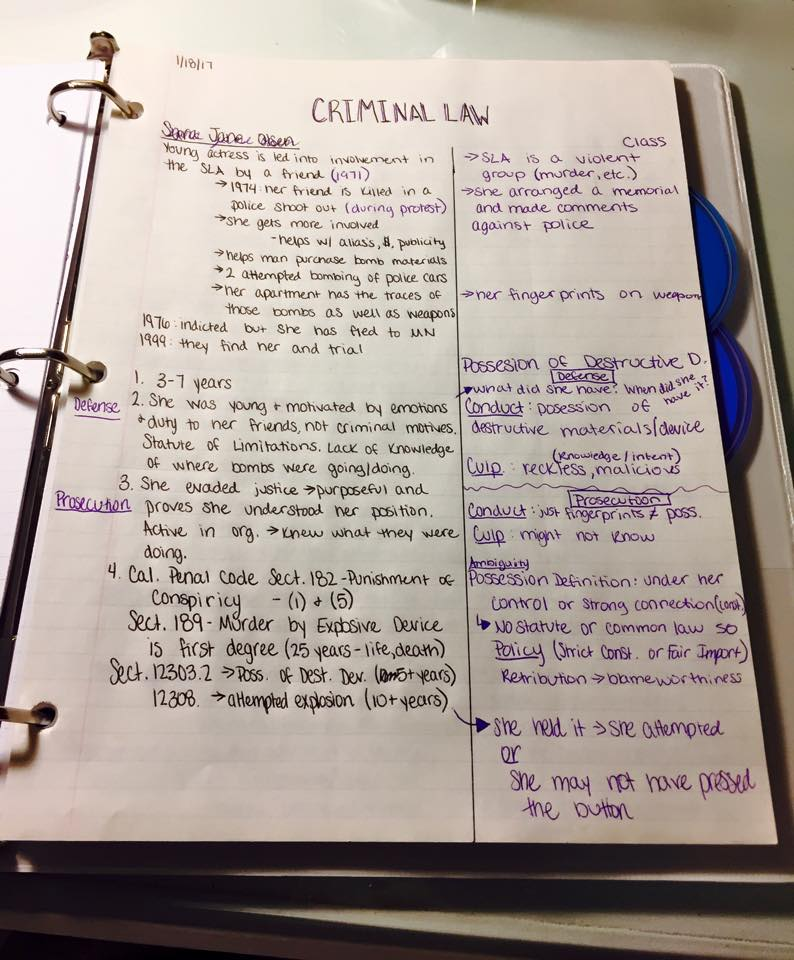 how to write a crtitcal case note law