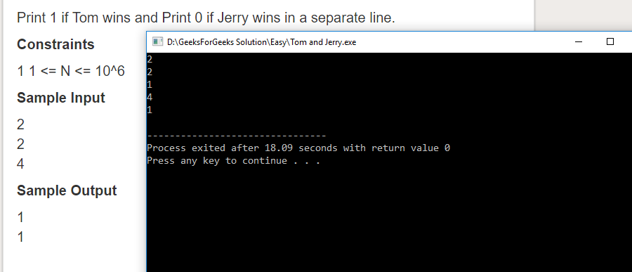 """Geeksforgeeks Solution For """" Tom and Jerry """""""