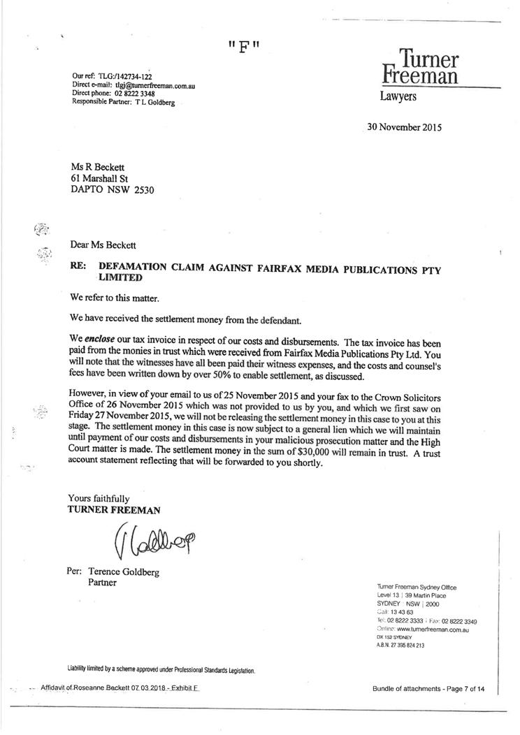 Sworn affidavit of Roseanne Beckett, 7 March 2018