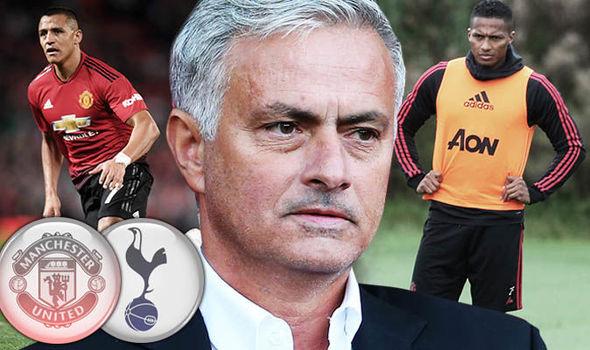 Jose Mourinho, Antonio Valencia and Alexis Sanchez