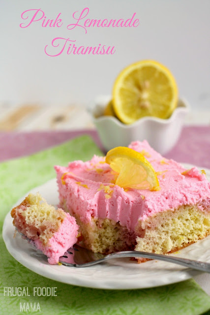 Pink Lemonade Tiramisu- a bright, lemony ladyfinger cake is frosted with a light & fluffy lemon mascarpone topping. A summery makeover of a classic Italian dessert.