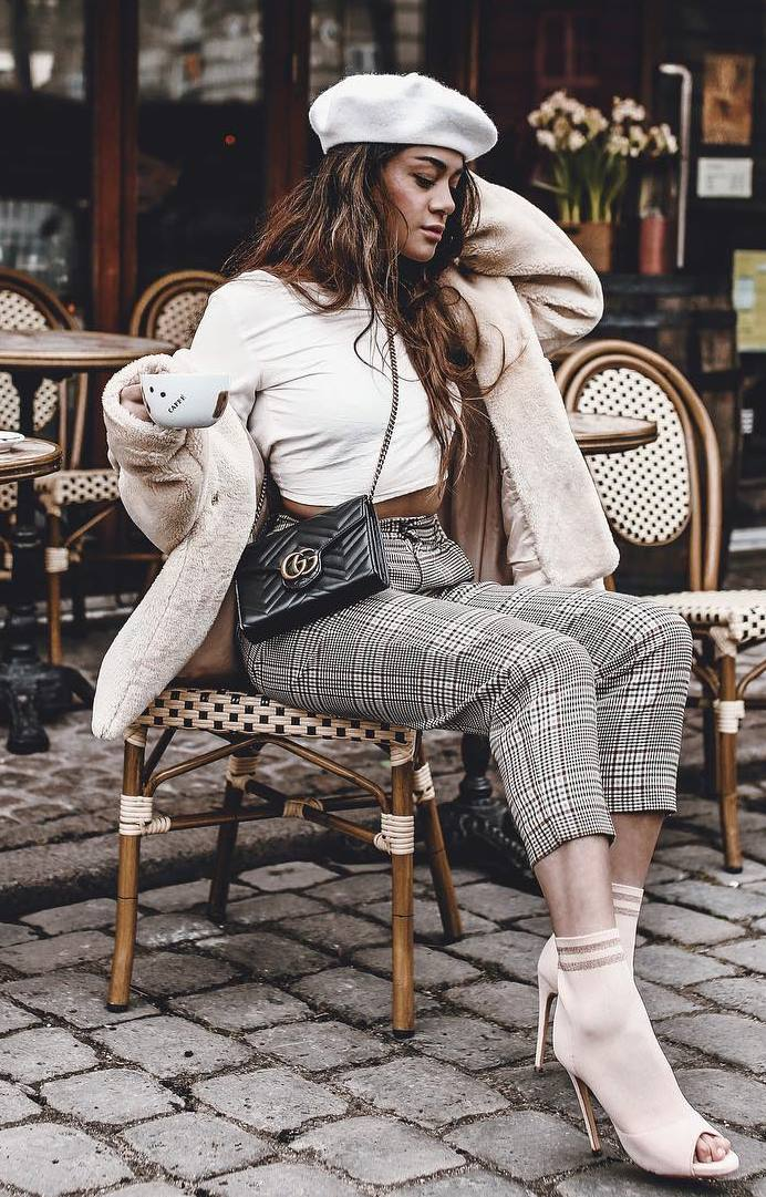 gorgeous fall outfit / white open toe boots + hat + plaid pants + bag + crop top + fur jacket