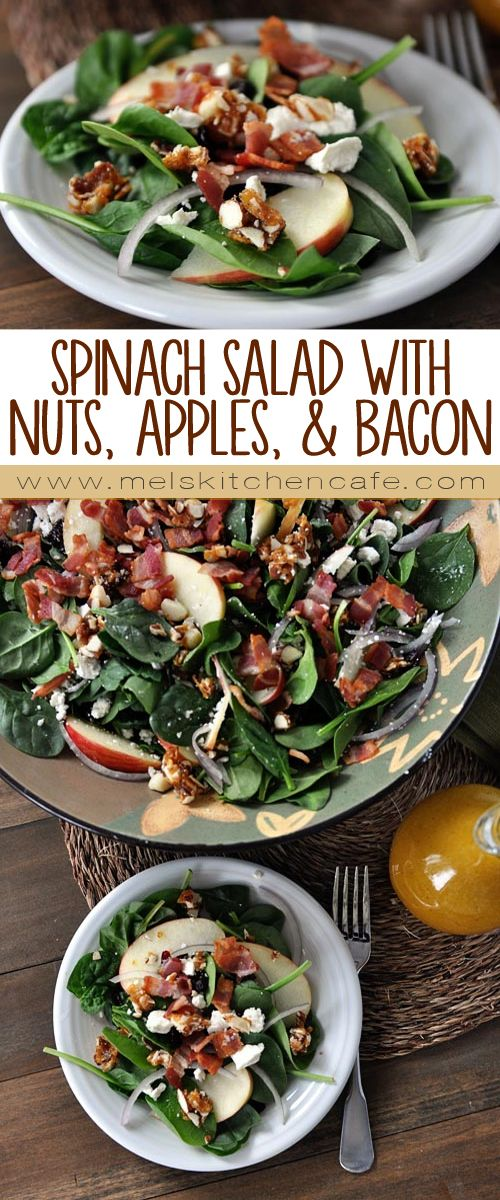 Spinach Salad with Sweet-Spicy Nuts, Apples, Feta and Bacon