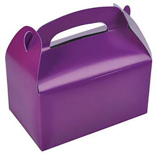 Sofia the First party craft-decorate a purple goody box.