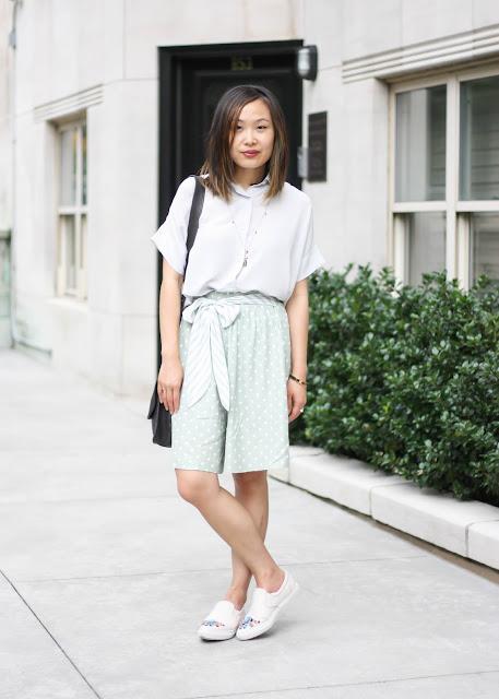 Modern Vintage Outfit Everlane Shirt and Vintage Shorts