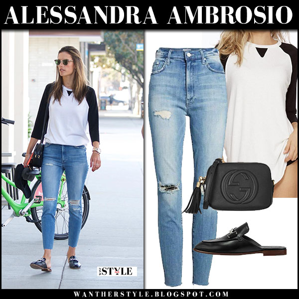 Alessandra Ambrosio in white and black top and ripped skinny jeans mother denim swooner model street style january 18