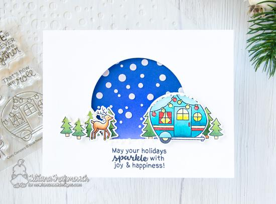Holiday Camper Card by Tatiana Trafimovich | Snow Globe Scenes and Cozy Campers Stamp Sets by Newton's Nook Designs #newtonsnook #handmade #christmascard