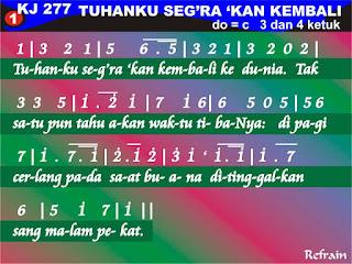 Lirik dan Not Kidung Jemaat 277 Tuhanku Seg'ra 'Kan Kembali