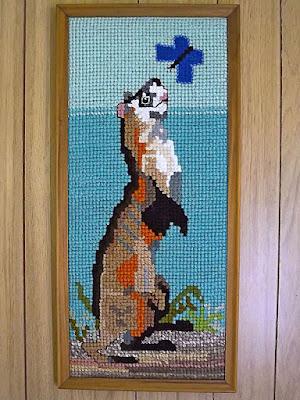 Framed needlework ferret & butterfly
