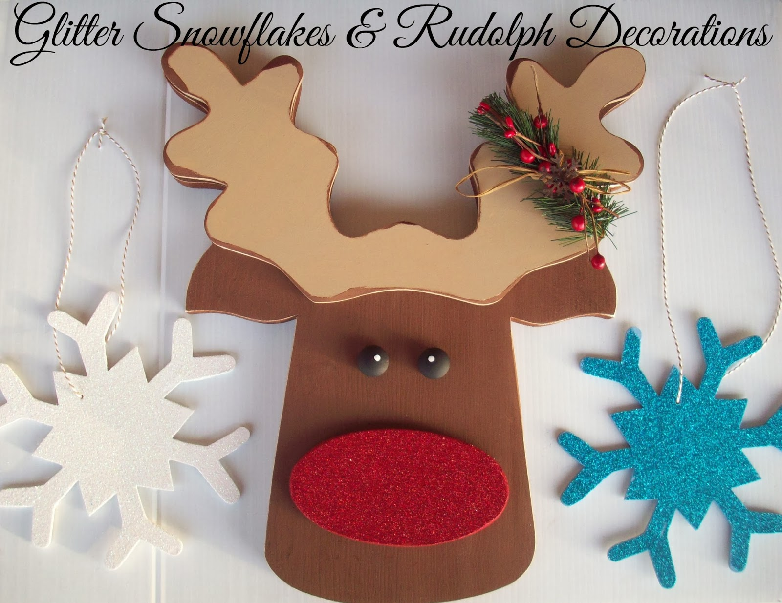 Rudolph Christmas Decorations.Glitter Snowflakes And Rudolph Christmas Decorations