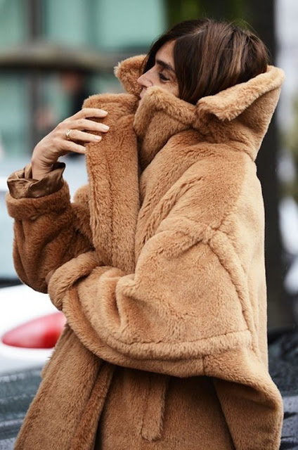 Carine Roitfeld teddy bear coat