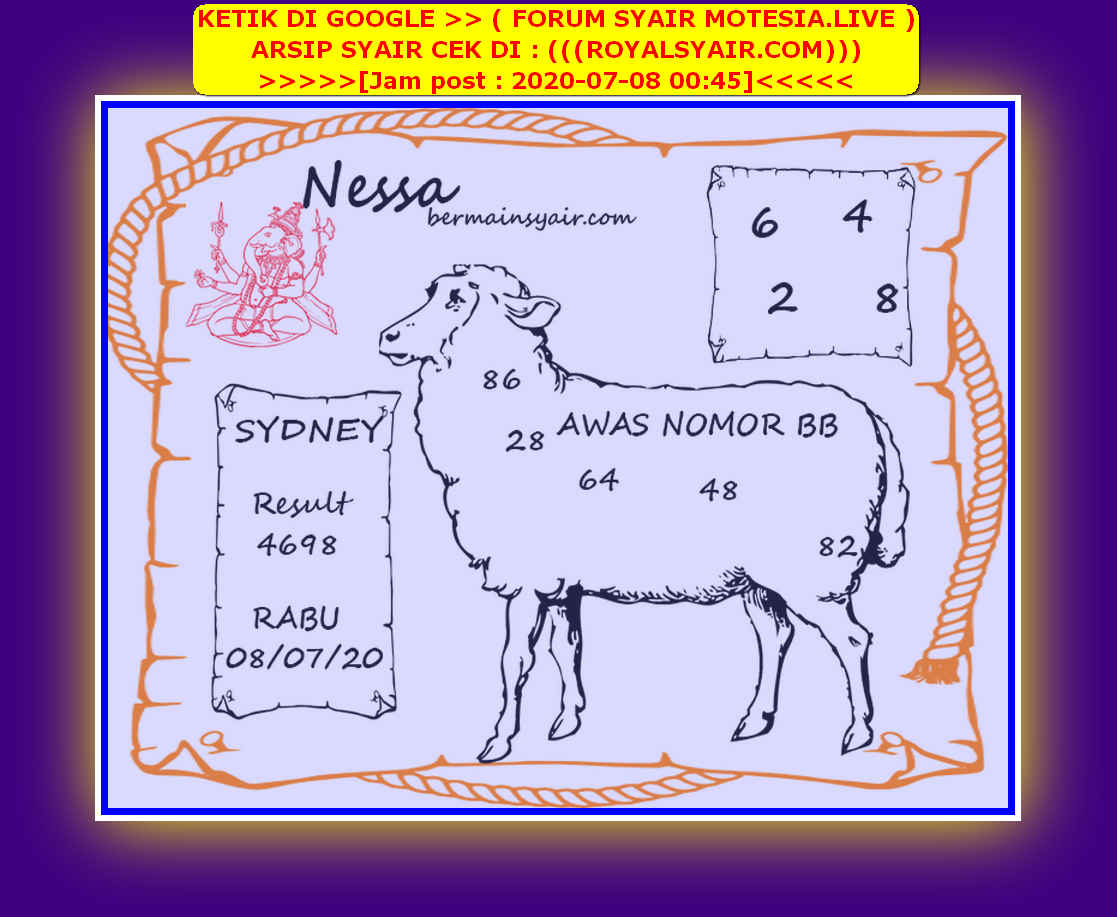 Kode syair Sydney Rabu 8 Juli 2020 205