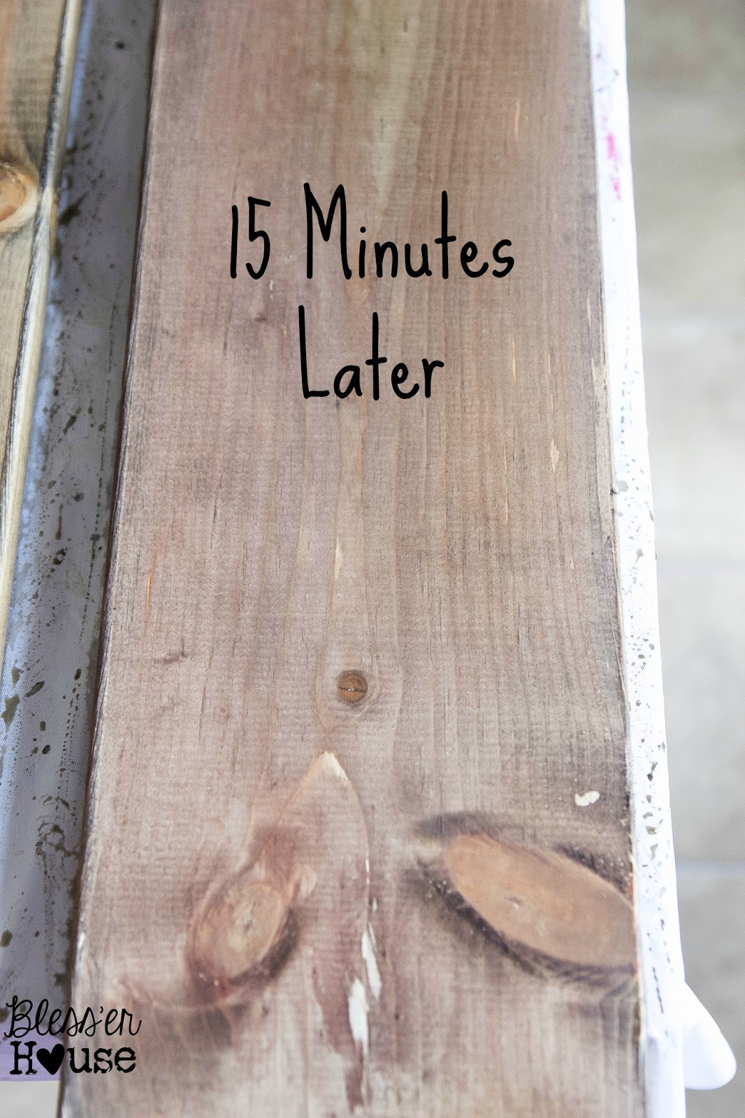After 15 minutes, this all natural wood stain has deepened into an aged grey.