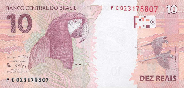 Brazilian Currency 10 Reals banknote 2010 Green-winged Macaw Ara