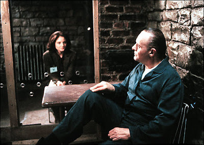 Jodie Foster as clarice starling, Anthony Hopkins as hannibal lecter in The Silence of the Lambs