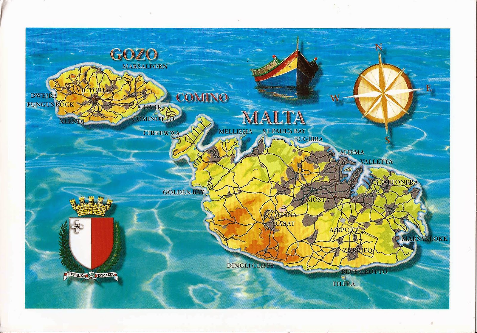 A Journey of Postcards The map of Malta