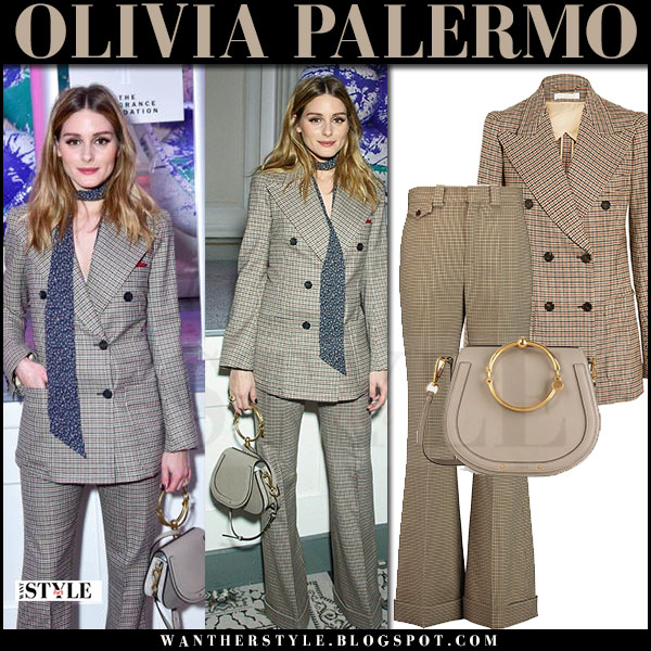Olivia Palermo in brown tweed chloe blazer and wide-leg chloe pants what she wore april 2017