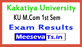 Kakatiya University M.Com 1st Sem Exam Results