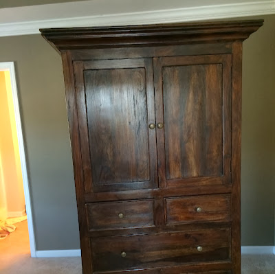 Armoire finished in Annie Sloan Duck Egg Blue and Old White - Before | The Lowcountry Lady
