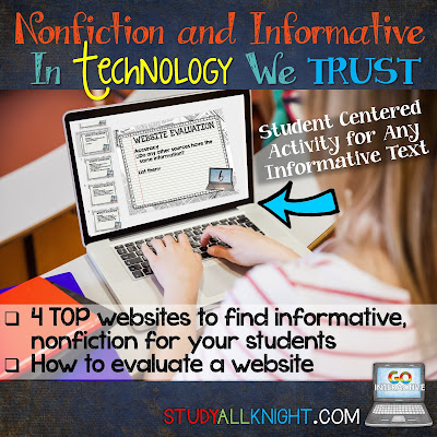 Are you looking for great nonfiction and informative reading and writing sources that your students will be able to utilize? Here are the four TOP websites, along with tips for evaluating each website. These ideas are great for your 4th, 5th, 6th, 7th, 8th, 9th, 10th, 11th, and 12th grade students!