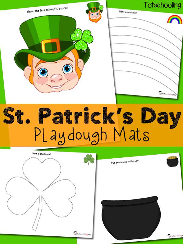 Free printable St. Patrick's Day playdough mats featuring a leprechaun, rainbow, shamrock and pot of gold!