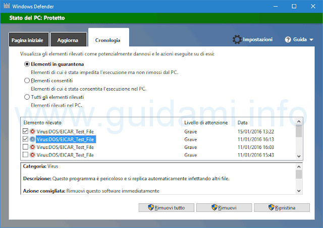 Windows Defender Cronologia quarantena