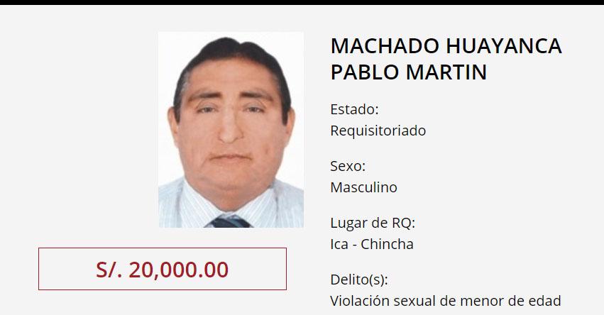 20 mil de recompensa por Pablo Machado, director de colegio acusado de violar a niña de 3 años